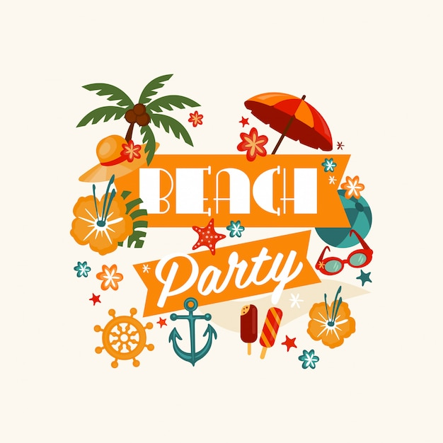 Brach party banner with lettering Premium Vector