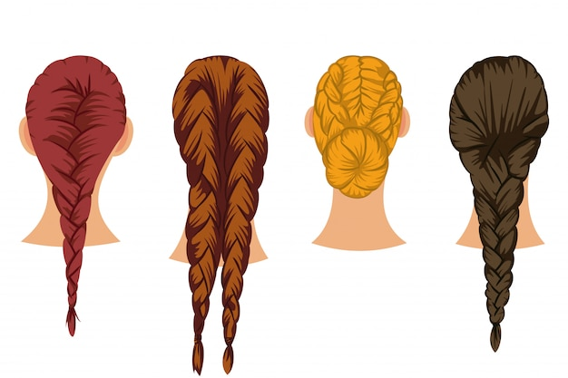 Braids hair vector cartoon set of female hairstyles isolated on white background. Premium Vector