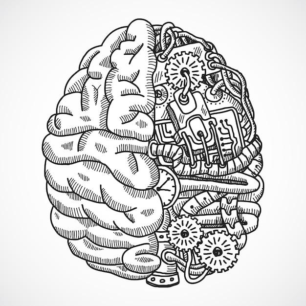 Brain as processing machine Premium Vector