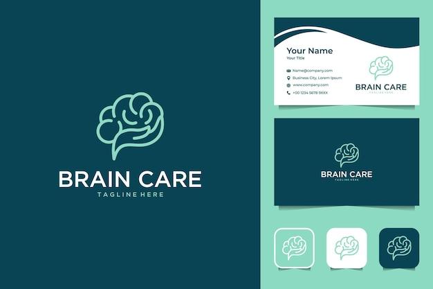 핸드 라인 아트 스타일 로고 디자인 및 명함으로 두뇌 관리 프리미엄 벡터
