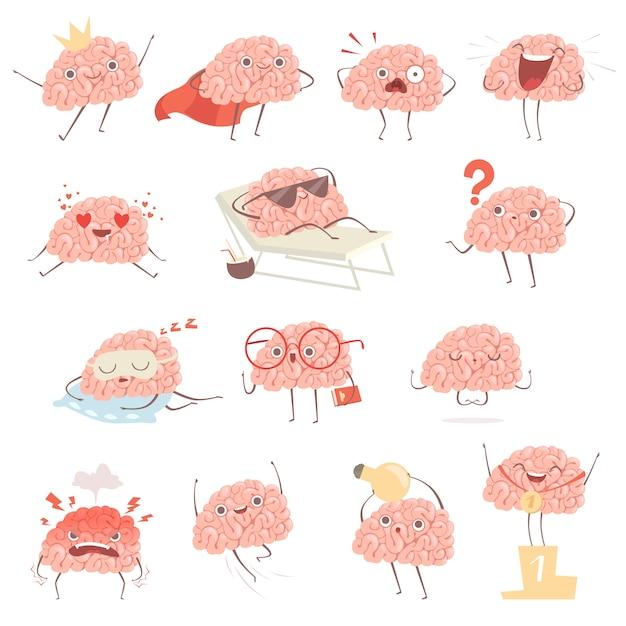 Brain cartoon. happy cartoon mascot in action poses walking sleeping making exercises Premium Vector
