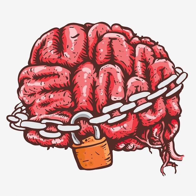 Brain in chains locked hand drawing line art Premium Vector
