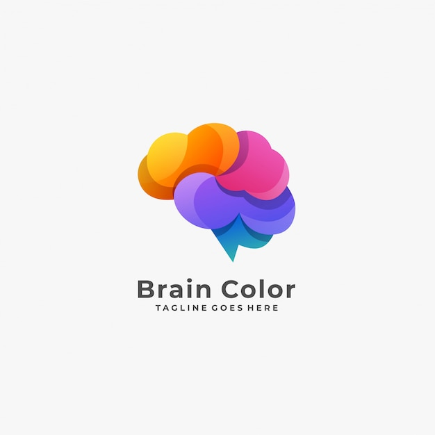 Brain color with cold logo. Premium Vector