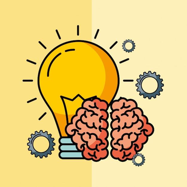 Brain creative idea bulb innovation Premium Vector