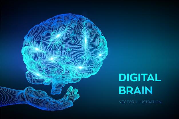 Головной мозг. цифровой мозг в руках. нейронная сеть. Premium векторы