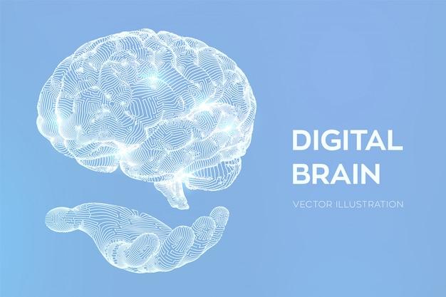 Головной мозг. цифровой мозг в руках. нейронная сеть. Бесплатные векторы