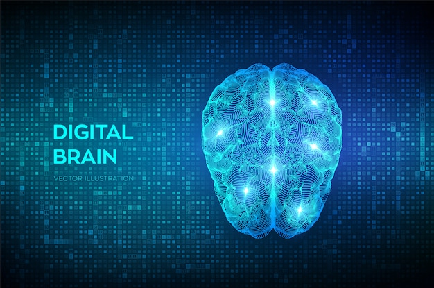 Мозг. цифровой мозг при потоковой передаче цифрового двоичного кода. нейронная сеть. Premium векторы