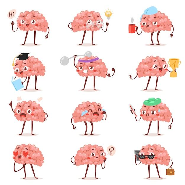 脳感情ベクトル漫画狂気のキャラクター表現絵文字と知性の絵文字勉強愛情のあるまたは泣いているイラストブレーンストーミングセットビジネスマンカワイイ分離されたのセット Premiumベクター