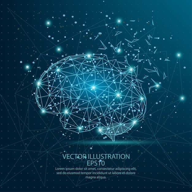 Brain form low poly wire frame on blue background. Premium Vector