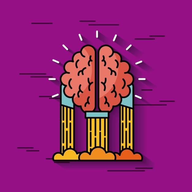 Brain hanging ideas illustration Premium Vector