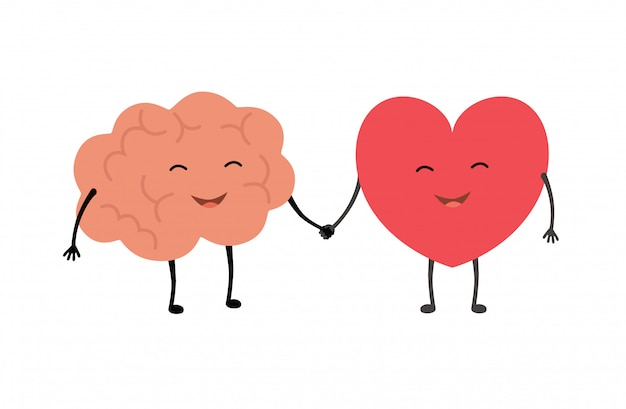 Brain and heart handshake. Premium Vector