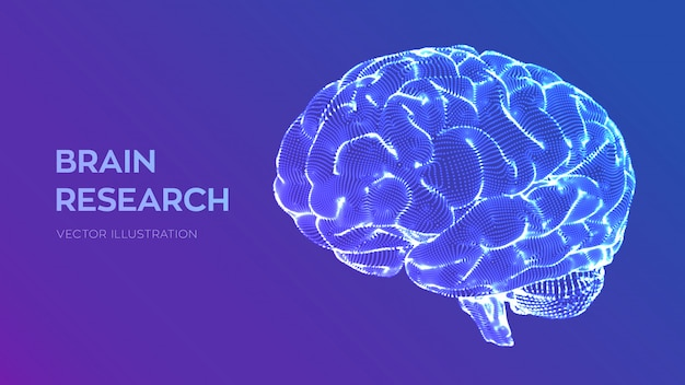 Brain. human brain research Premium Vector
