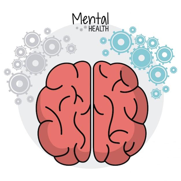 Brain human mental health gears image Premium Vector
