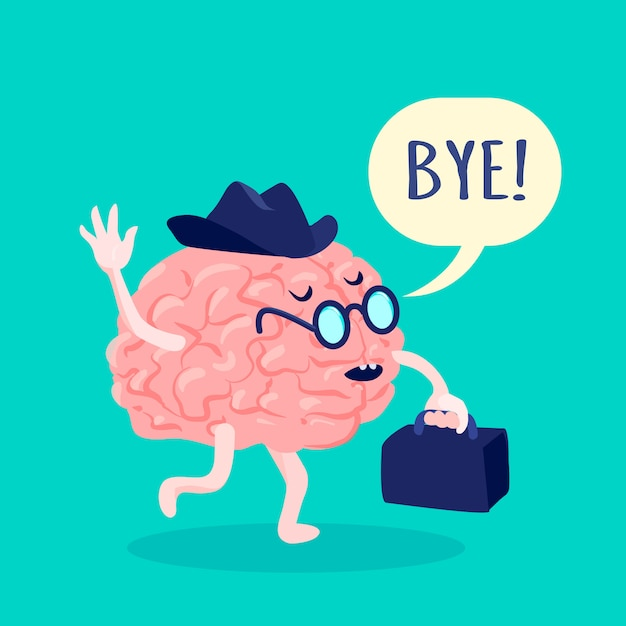 Мозг в шляпе и очках, прощаясь с чемоданом плоской векторной иллюстрации Бесплатные векторы