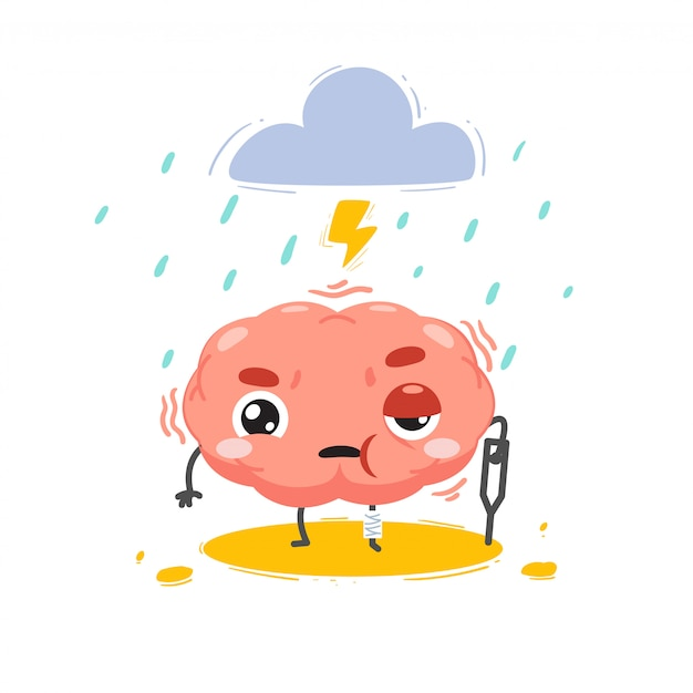 The brain is hurt with a storm above. isolated illustration Premium Vector