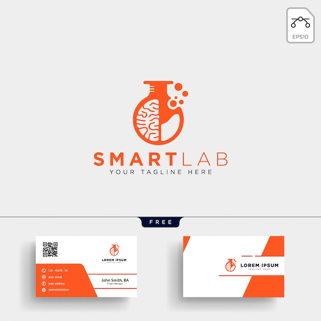 Brain laboratory science logo template and business card Premium Vector