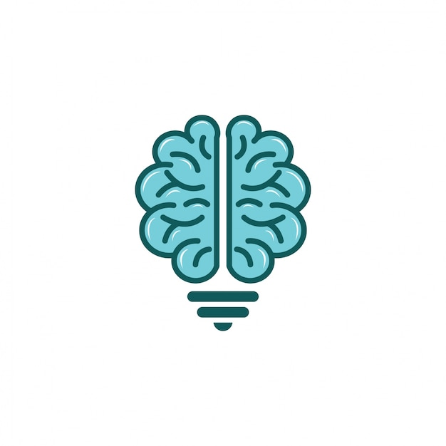 Brain Light Bulb Logo Vector Design Premium Vector