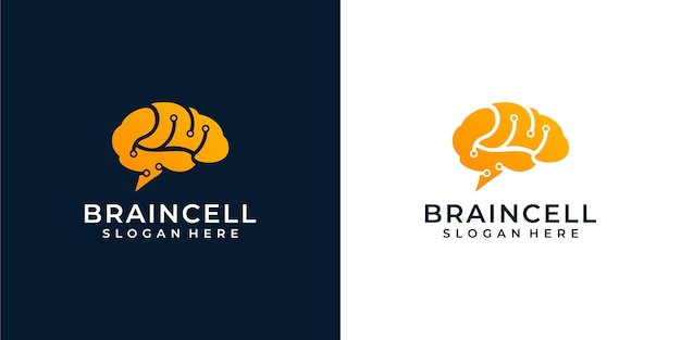Brain logo illustration Premium Vector