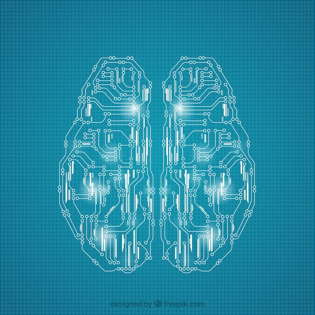 Brain made of circuits Free Vector