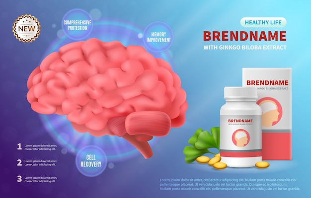 Brain medicine advertising realistic composition of human brain image and drug package with editable brand name illustration Free Vector