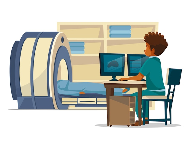 Brain MRI hospital cartoon of doctor and patient on medical examination. Free Vector
