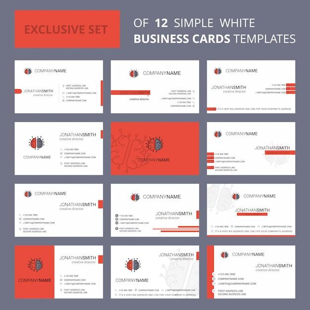 ブレインプロセッサビジネスカードテンプレート。編集可能なクリエイティブのロゴと名刺 無料ベクター