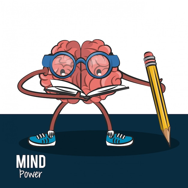 Brain reading a book and holding a pencil vector illustration graphic design Premium Vector
