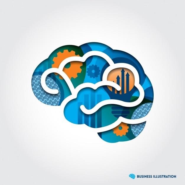 Brain shape background design Free Vector