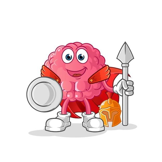Мозг спартанского персонажа. мультфильм талисман Premium векторы