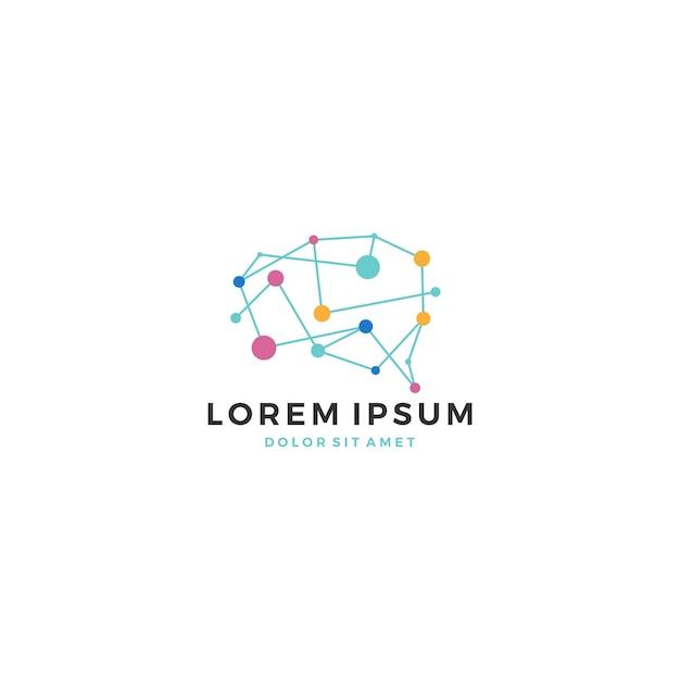 Brain tech logo Premium Vector