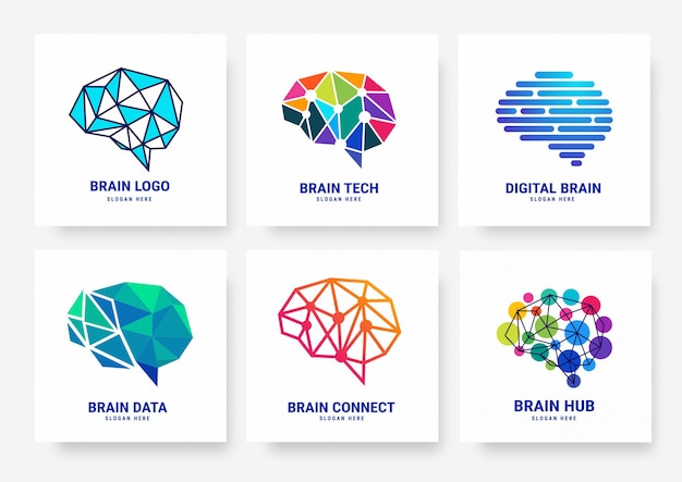 Коллекция логотипов brain template Premium векторы