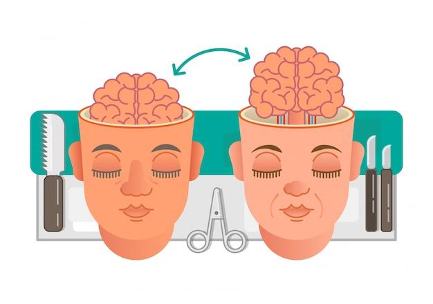 Brain transplantation concept illustration Premium Vector