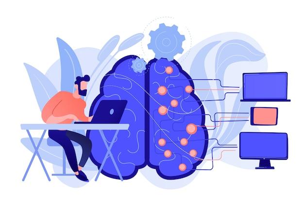 디지털 회로와 프로그래머와 노트북으로 두뇌. 기계 학습, 인공 지능, 디지털 두뇌 및 인공 사고 프로세스 개념. 벡터 격리 된 그림입니다. 무료 벡터