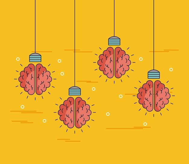 Brains hanging ideas illustration Premium Vector