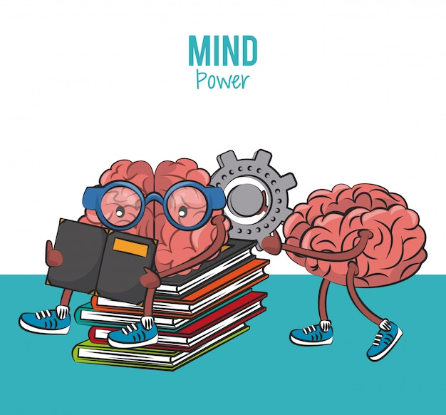 Brains seated on books piled and holding gear cartoon vector illustration graphic design Premium Vector