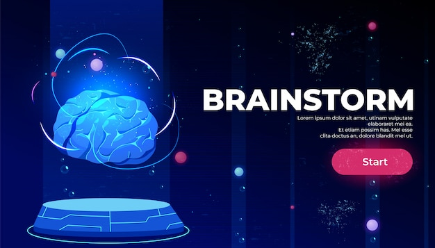 Brainstorm landing page, artificial intelligence Free Vector