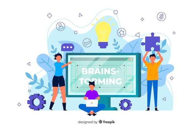 Brainstorming concept for landing page Free Vector