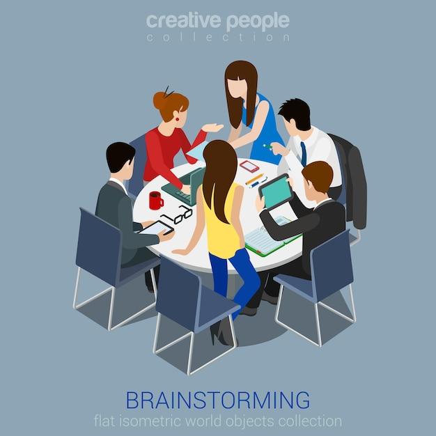 브레인 스토밍 크리 에이 티브 팀 아이디어 토론 사람들이 평면 3d 웹 아이소 메트릭 infographic 개념. 테이블 노트북 수석 아트 디렉터 디자이너 프로그래머 주변의 팀워크 직원. 무료 벡터