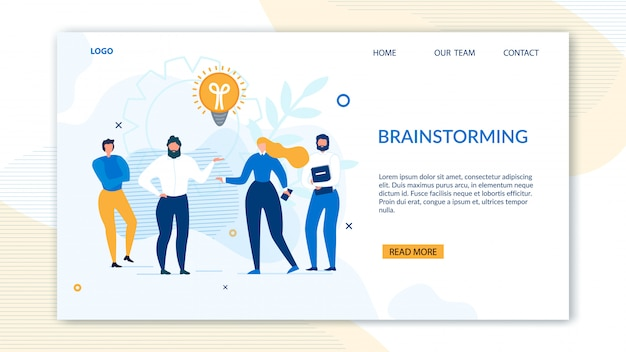 Brainstorming design landing page for business Premium Vector