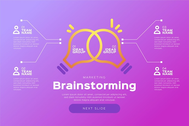 Brainstorming infographics template Free Vector
