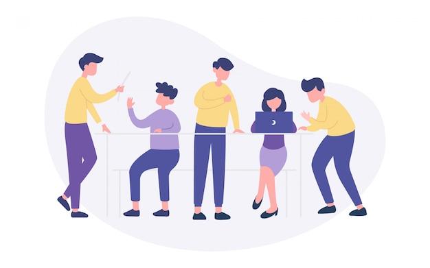 Brainstorming teamwork illustration Premium Vector