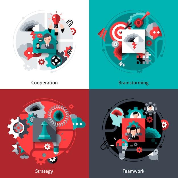 Brainstorming and teamwork set Free Vector