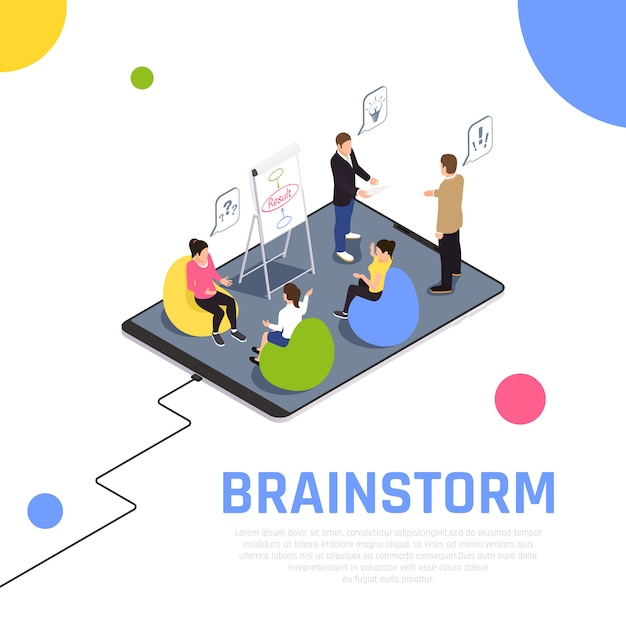 Brainstorming teamwork technique gets team members working together solves problems creates new ideas isometric composition Free Vector
