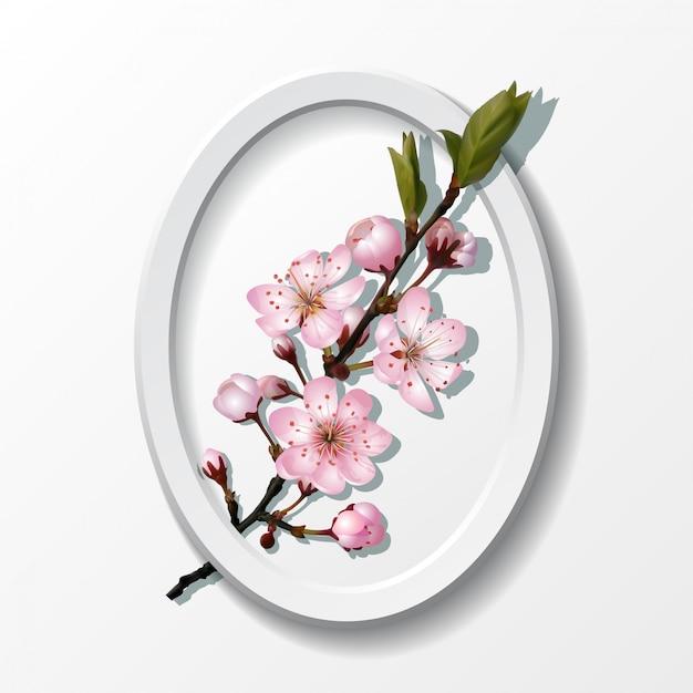 Branch of pink sakura cherry flowers Premium Vector
