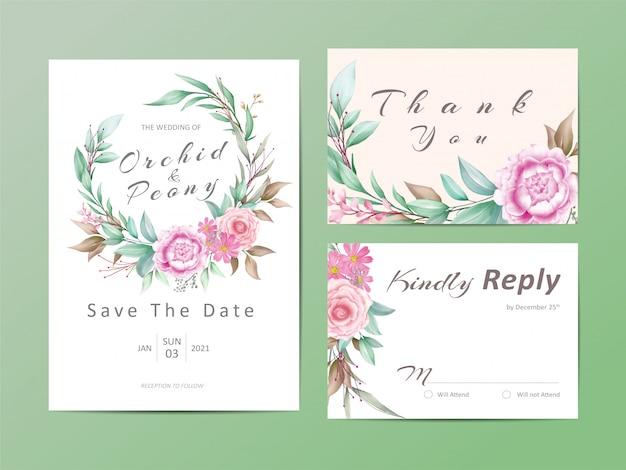 Branch wedding invitation template set of watercolor floral Premium Vector