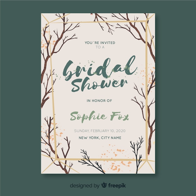 Branches bridal shower card template Free Vector