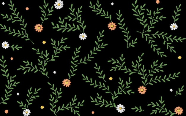 Branches leaves twigs grass herbs seamless pattern. Premium Vector