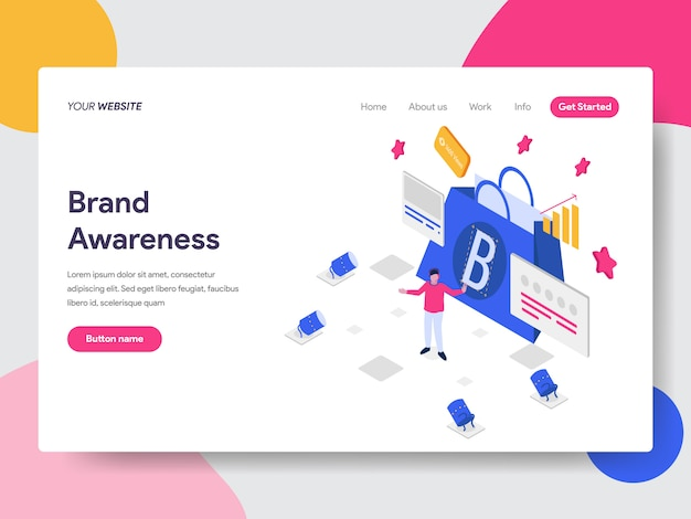Brand awareness illustration for web pages Premium Vector