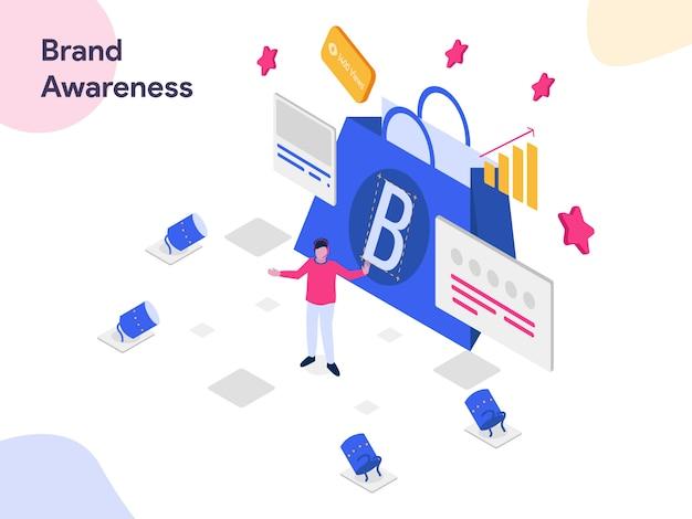 Brand awareness isometric illustration Premium Vector