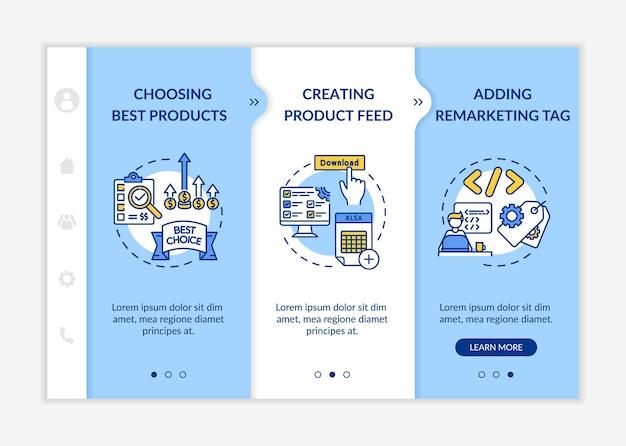 Шаблон адаптации бренда. выбор лучших товаров, создание фида товаров, тег ремаркетинга. адаптивный мобильный сайт с иконками. Premium векторы